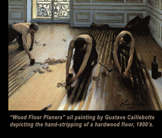 'Wood Floor Planers' oil painting by Gustave Caillebotte depicting the hand-stripping of a hardwood floor, 1800's.